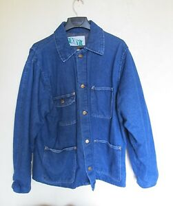 c33f1ab7491 Vintage 1960s KEY DENIM WORK WEAR BLANKET LINED CHORE Coat jacket M ...
