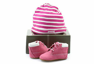 0bf2c9922f7 Image is loading Timberland-Infant-Crib-PINK-Leather-Baby-Booties-And-