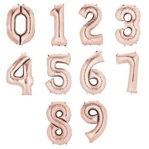 Grand-Dore-Rose-Feuille-Numero-Ballon-Helium-Air-Nombre-de-Geant-86-4cm