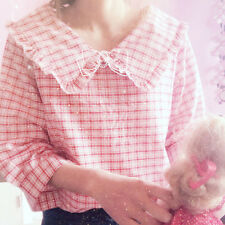 Sweet Japanese Mori Girl Preppy Style Cute Doll Blouses Check Long sleeve Tops