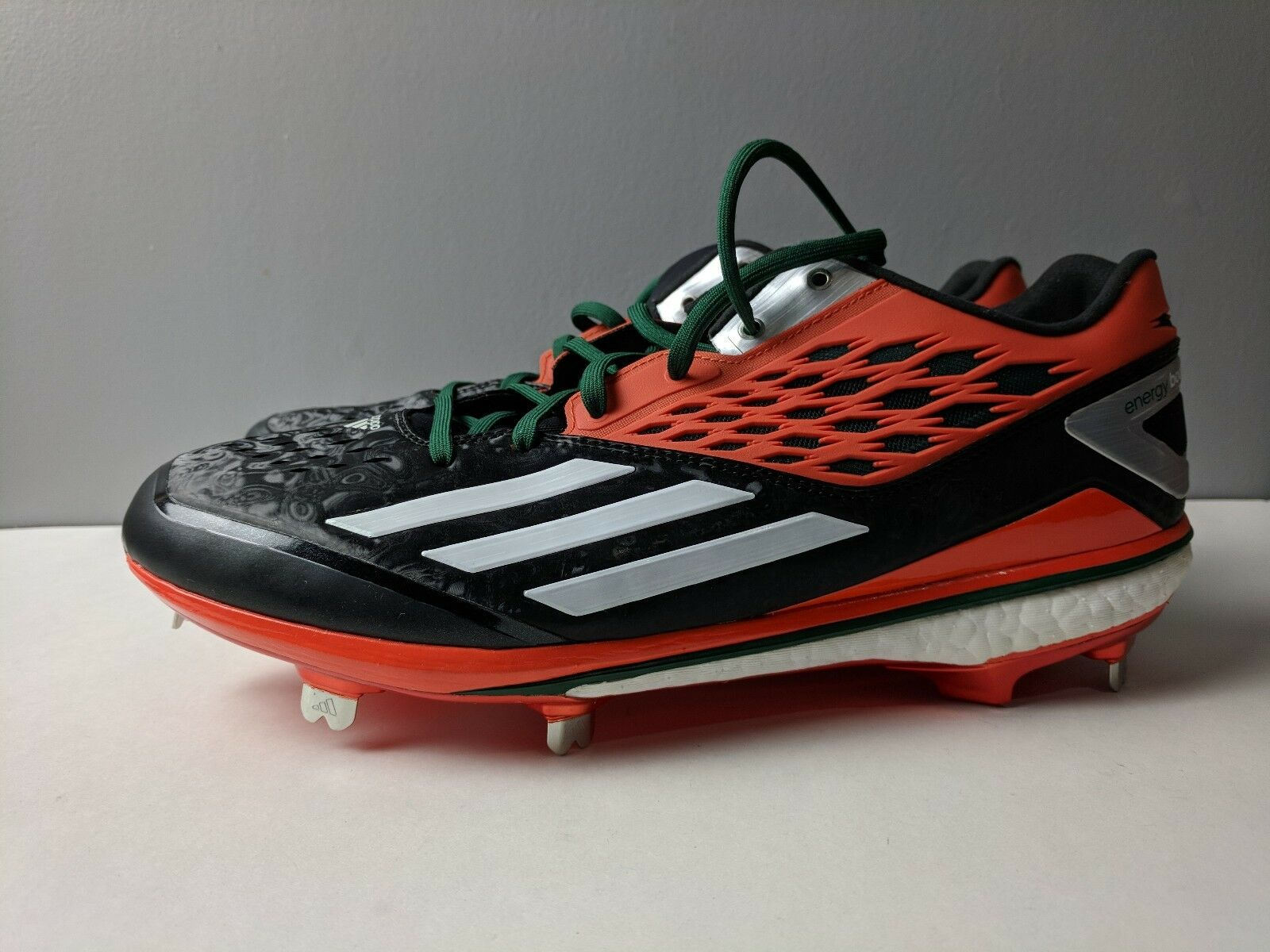 Adidas Energy Boost Icon Miami Hurricanes PE Omaha Baseball Cleat Size 11.5 Rare