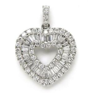 1-20-TCW-Round-amp-Baguette-Cut-Diamonds-Heart-Pendant-In-14k-White-Gold