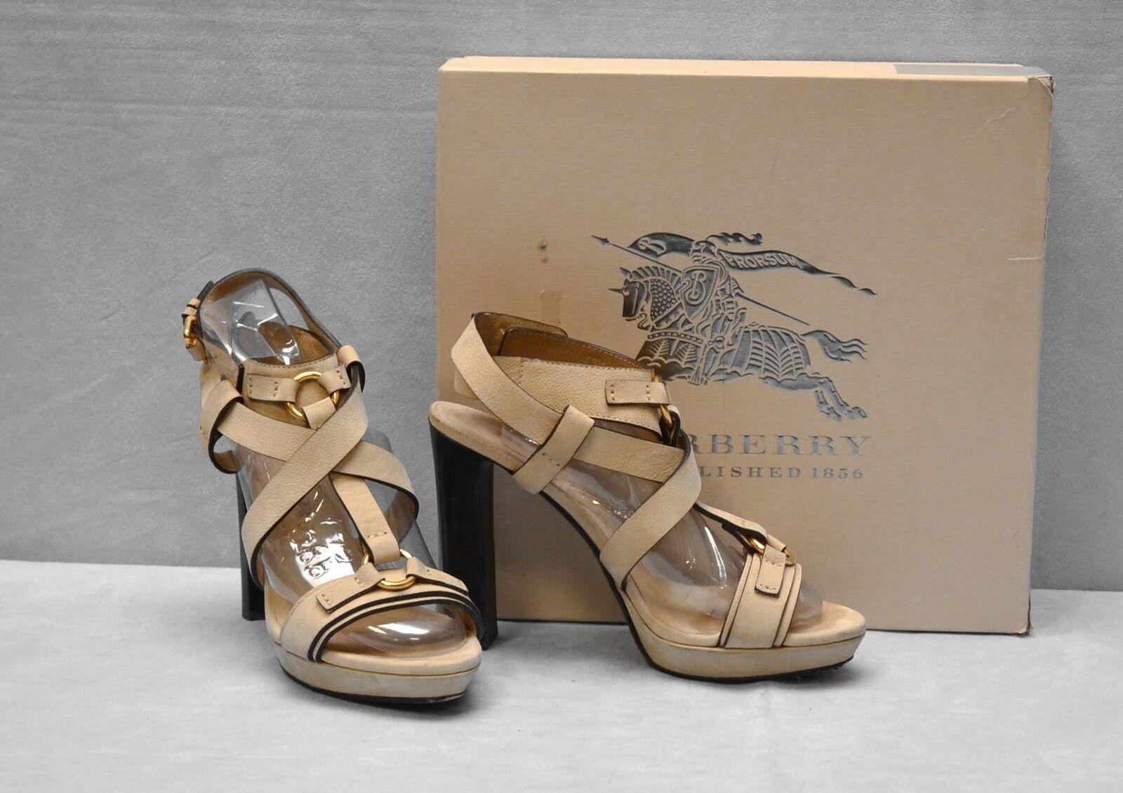 F0 Auth BURBERRY Soft Aviator Dessen Platform Sandal Heels Shoes Sz 39 5