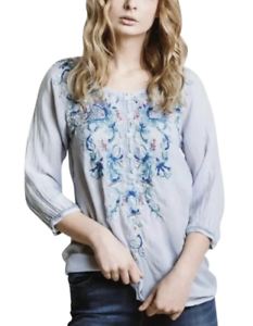 Beautiful-JOHNNY-WAS-Floral-Embroidered-BLUE-MOON-Button-Neck-Tunic-S-228