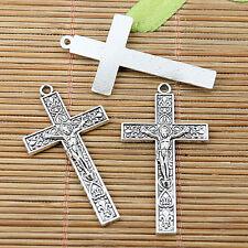 8pcs tibetan silver color crucifix charms EF2312