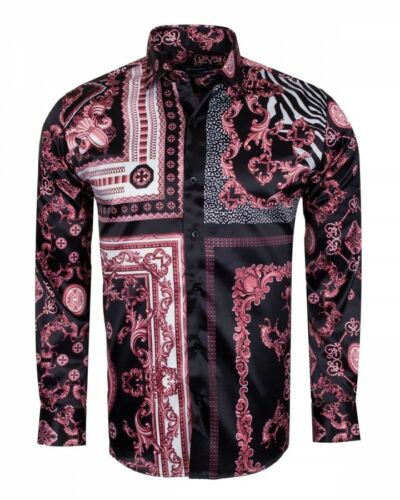 6422 Turkije satijn zwart roze bloemen Europese Heren shirt Banks Oscar merk rsQChdtx