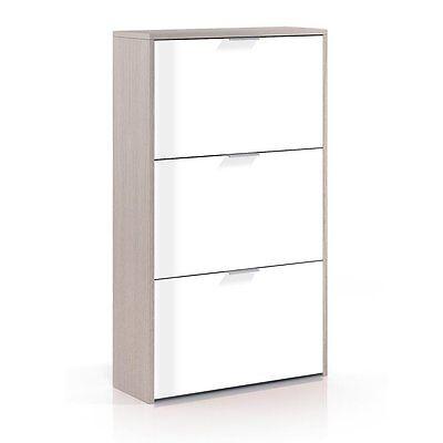 Mueble zapatero 3 puertas, zapatero gran capacidad, Blanco Brillo y Roble