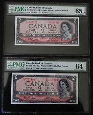 2 1954 Bank of Canada $2 notes PMG Cert. 64-65 Gem/Choice Unc EPQ Mod. Portrait