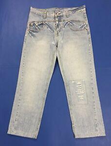 Rockers jeans uomo usato denim W34 tg 48 destroyed boyfriend straight fit T3403