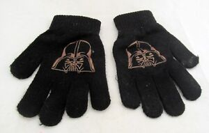 STAR-WARS-Darth-Vader-Black-Knit-Winter-Gloves-Mittens-Kids-One-Size-Boy-Girl