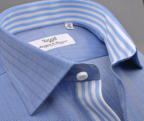 Dark Blue Business Dress Shirt Mens Herringbone Formal Striped Top Spread Collar