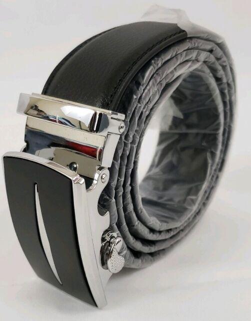 Mens Leather Belt Sliding Buckle 35mm Ratchet Belt Black