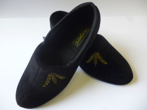 NEW SLEEPERS ZENA WOMENS SLIPPERS BLACK EMBROIDERED WIDE FIT E//EE £12.99