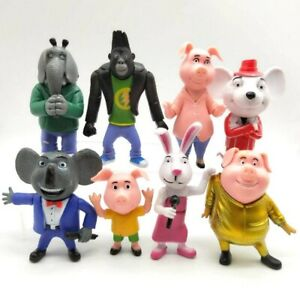 8x Buster Moon Johnny Sing Cartoon Movie 7-10cm Cartoon Figure Kid Birthday Gift