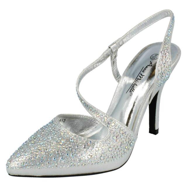 dfe5e47b881 Ladies Anne Michelle Glitter Diamante Stiletto HEELS Court Shoes ...