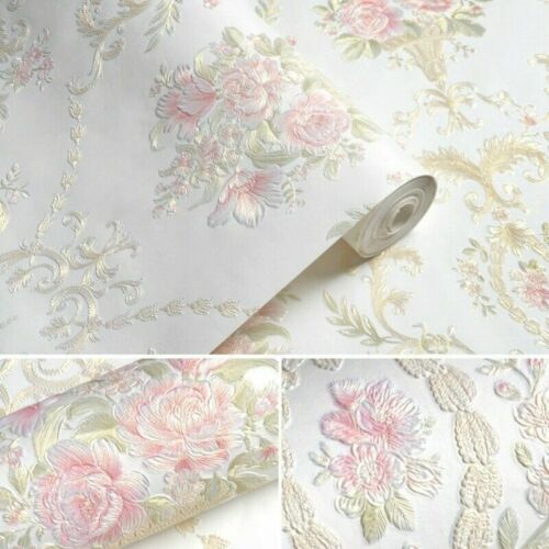 5M Self-Adhesive Non-woven Wallpaper 3D Floral DAMASK Embossed Wall Paper Modern