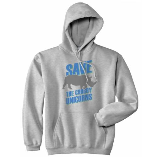 Save The Chubby Unicorns Hoodie Hoody Top Funny Graphic Tee Rhino Unicorn Slogan
