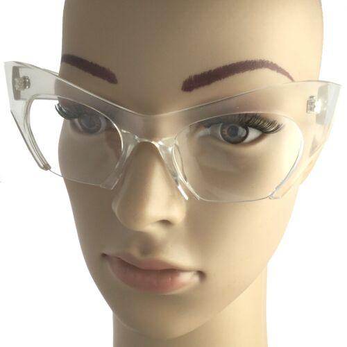 Vintage Style Clear BOTTOM SEMI RIMLESS CUT OFF LENS CAT EYE GLASSES Transparent
