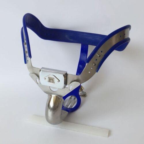 Complet Mâle Chasteté Ceinture Appareil Acier Inoxydable hauteur hip bleu 16