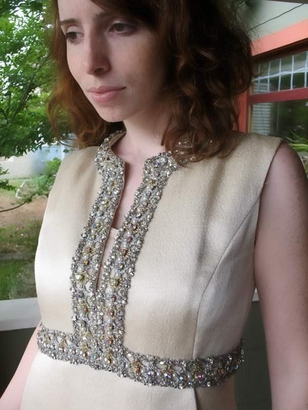 Ceil Chapman Dress VTG 60s Metallic Silk Aurora B… - image 6