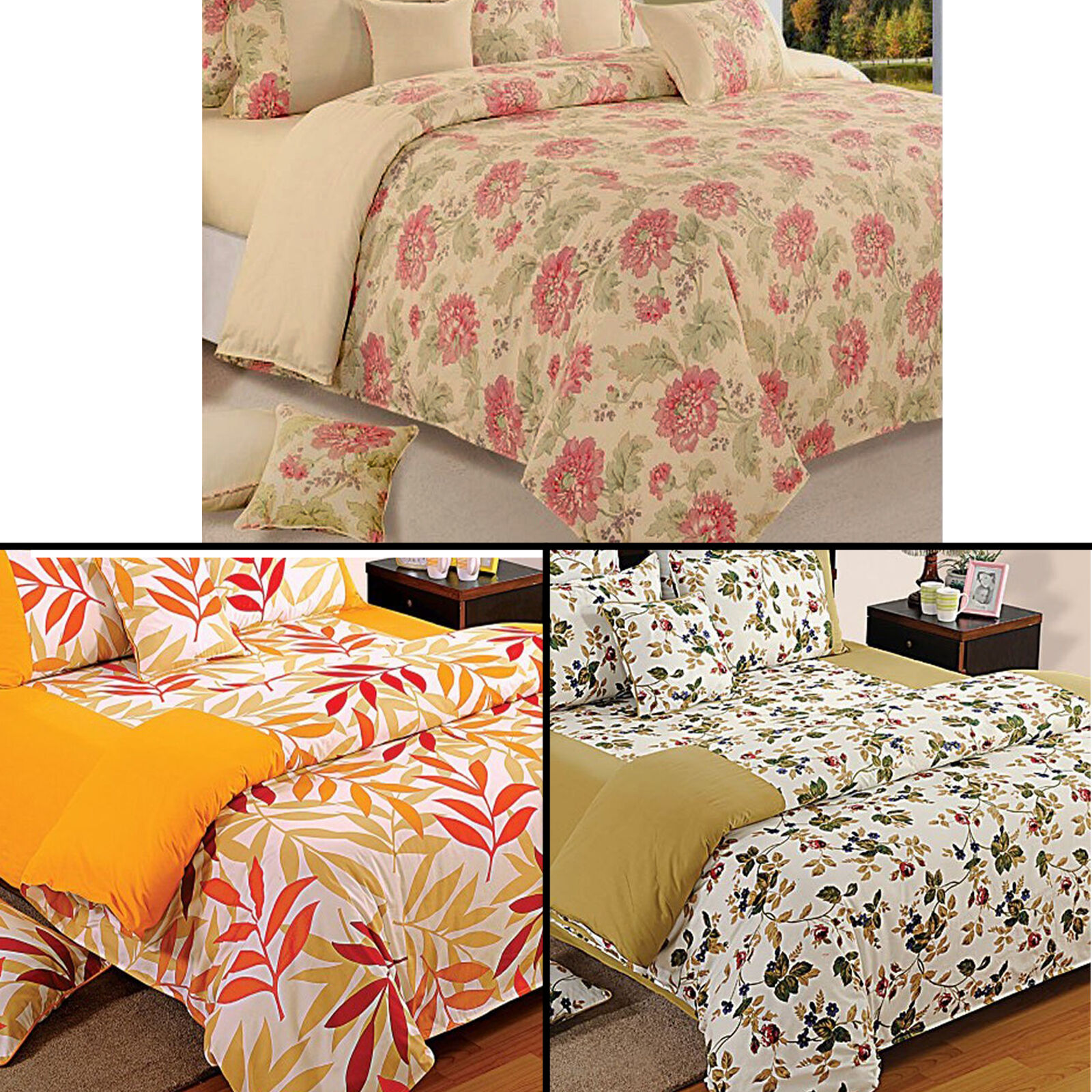 100% Cotton Twin Queen King Size Decorative Duvet Cover with Pillow Cover-7420