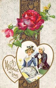 Valentine-Colonial-Couple-In-Heart-Red-Rose-Gold-Brown-Art-Nouveau-Emboss-1913