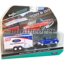 MAISTO TOW & GO 2004 FORD F-150 PICK UP w CAR TRAILER 1/64 CHASE WHITE WHEELS