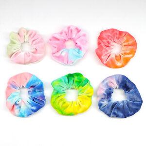 Rainbow-Soft-Velvet-Scrunchies-Tie-dye-Hair-Ring-Rubber-Band-Elastic-Hair-Rope-N