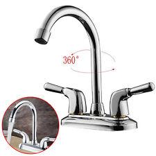 Chrome Swivel Spout Basin Sink Cold/Hot Water Faucet Mixer Tap Bathroom Kitchen