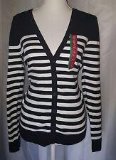 NWT Merona Cardigan Sweater V Neck Button Long Sleeve Black White Stripes Sz M