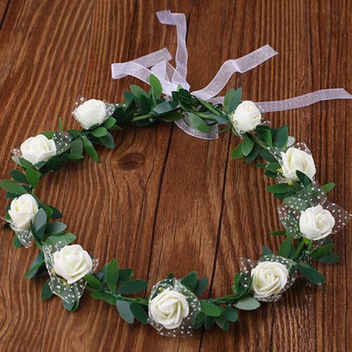 Frauen Rose Blume Krone Stirnband Kranz Party Hochzeit Headwear