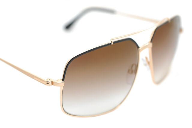 best quality latest design online shop TOM FORD RONNIE 439 01G 60mm Men Square Metal Sunglasses GOLD MIRROR BROWN  BLACK