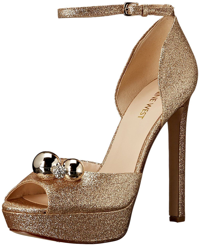 Nine West Vidah 6.5 Light Gold Embellished Shimmer Platform Peep Wedding Sandale