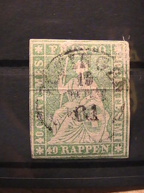 Switzerland stamp 1854/62 Strubel 40c green