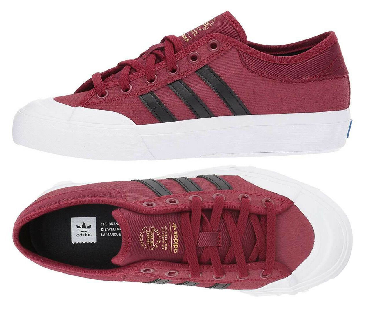 Adidas Originals Matchcourt Shoes Burgundy Canvas Sneakers ADIDAS BY3984 NEW Casual wild