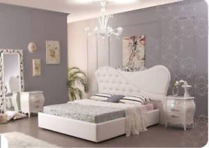 Letto Matrimoniale 140 Cm.Letto Matrimoniale In Ecopelle Bianca Cm 215x200 E H 140 Ebay