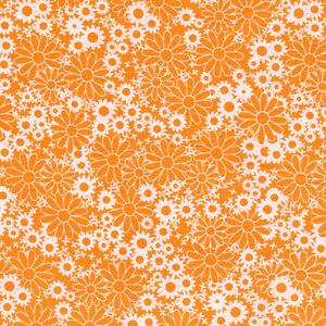 Fabri-Quilt-Baby-Talk-Orange-Daisys-100-cotton-Fabric-by-the-yard