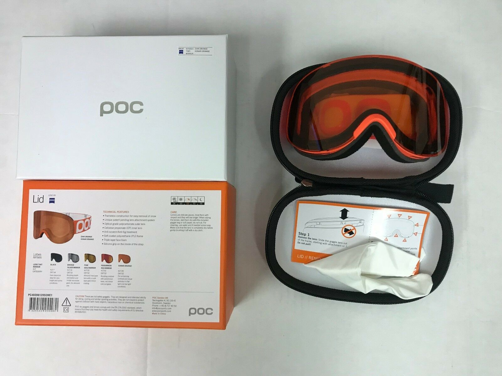 POC Lid Ski Goggles ZINK orange SONAR orange tint with mirror