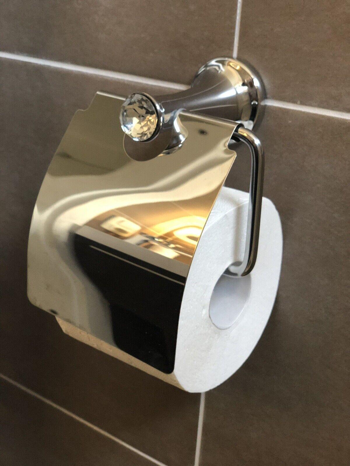 3 tlg. Badset WC Papierhalter, Handtuchhalter, WC Bürste Chrom Kristall Neu