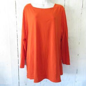New-D-amp-Co-Top-1X-Orange-Long-Sleeve-T-Shirt-Button-Detail-Plus-Size-QVC