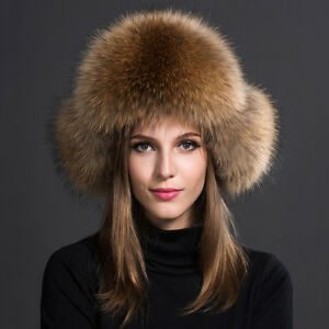 Winter Genuine fur hat Men Women Russian raccoon coon fashion style ... 2f634234c51