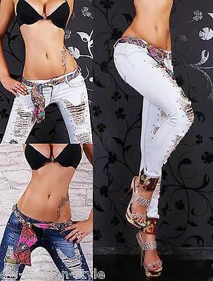 Damen Hüftjeans Röhrenjeans Destroyed Jeans mit Gürtelband Hippie Style