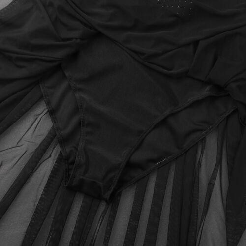 Women Adult Chiffon Ballet Dress Lyrical Asymmetric Tulle Dance Leotard Unitard