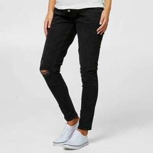 Ladies size 14 BLACK denim MATERNITY over the belly SKINNY Jeans rips Target NEW