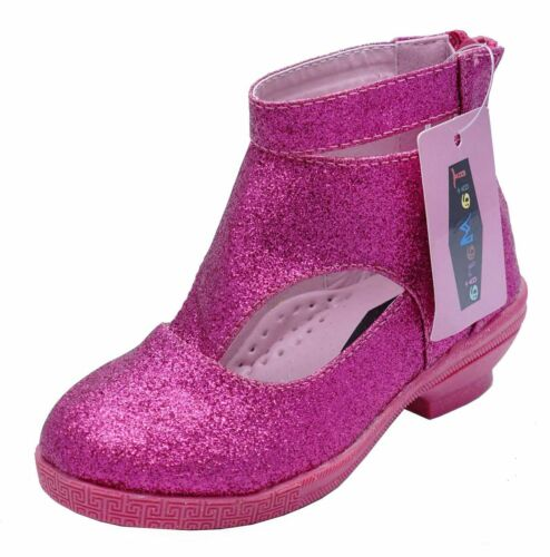 GIRLS CHILDRENS PINK PARTY ZIP KIDS LOW HEEL GLITTER BOOTS PARTY SHOES UK 8-3