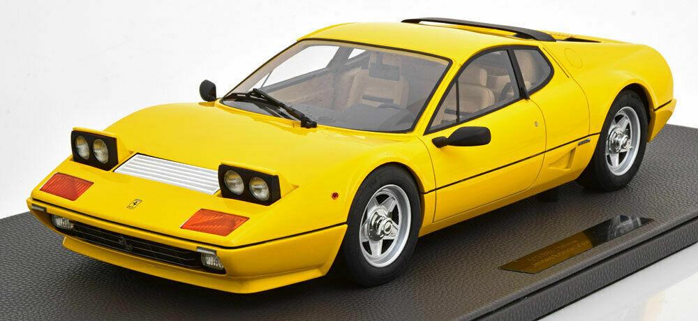 TOP MARQUES KOLLECTIBLES 1982 Ferrari 512 BBI gul LARGE bil LE 250pcs Ny
