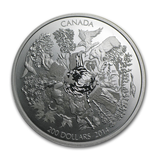 2014 2 oz Silver Canadian $200 Towering Forests of Canada