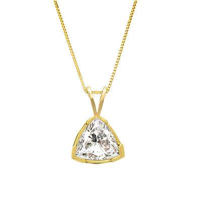 1.00 ct Trillion Cut 14k Solid Yellow Gold Solitaire Pendant Necklace