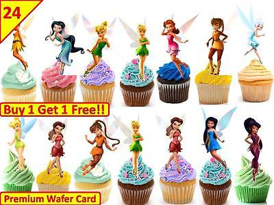 24 X TINKERBELL BIRTHDAY RICE PAPER CAKE TOPPERS