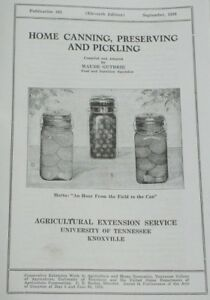 Home Canning Preserving & Pickling 1936 Old Timey Recipe Book Homesteading 4H